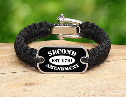 Light Duty Survival Bracelet - 2nd Amendment Est. (White)