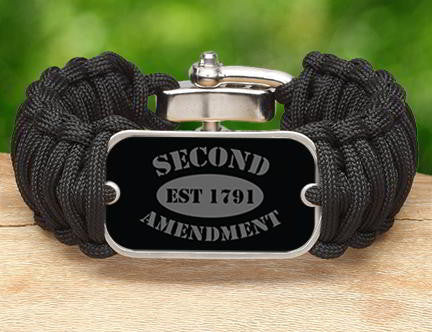 Wide Survival Bracelet - 2nd Amendment Est. (Gray)
