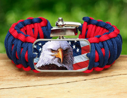 Wide Survival Bracelet - America Strong Eagle2 Logo