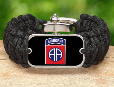 WIDE Survival Bracelet™-U.S. Army™ 82nd Airborne Black
