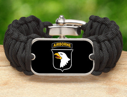 WIDE Survival Bracelet™-U.S. Army™ 101st Airborne Black