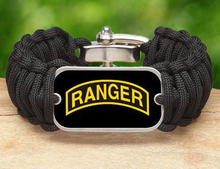 WIDE Survival Bracelet™-U.S. Army™ Rangers Black