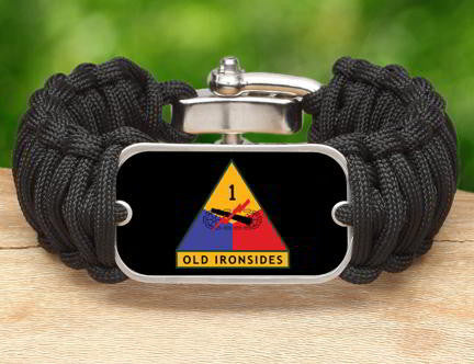 WIDE Survival Bracelet™-U.S. Army™ 1st Armored Black