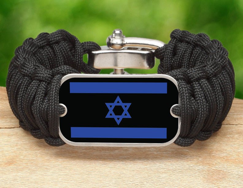 Wide Survival Bracelet™ - Israeli Flag - Black