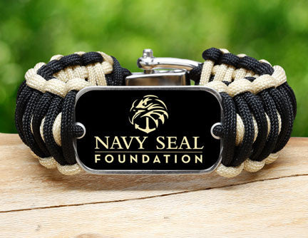Wide Survival Bracelet™- Navy SEAL Foundation - Black and Sand
