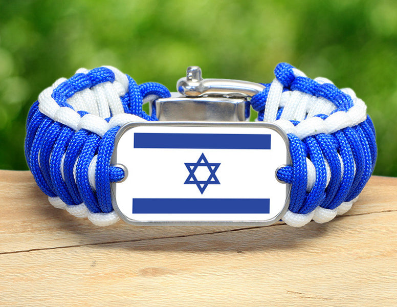 Wide Survival Bracelet™ - Israeli Flag - Blue/White