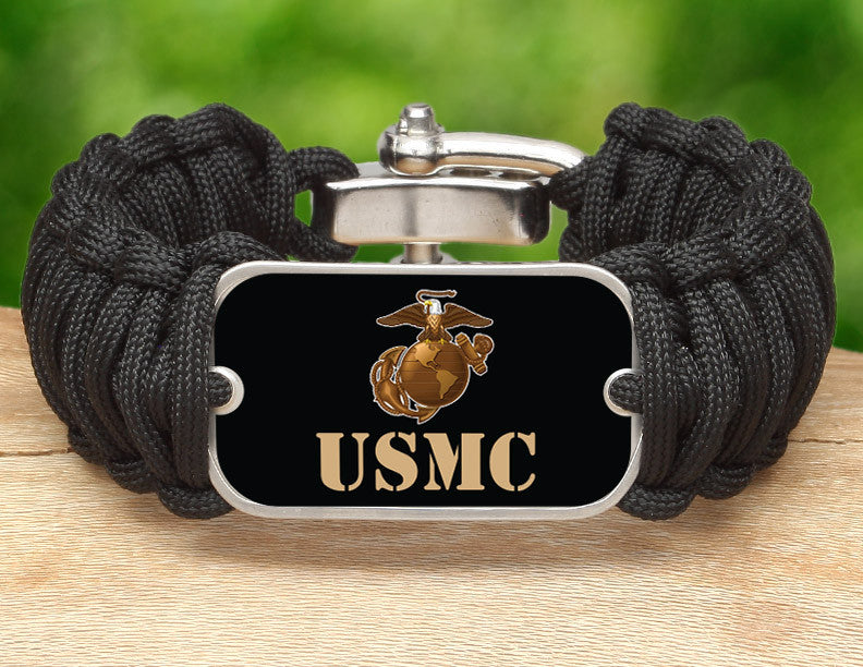 Wide Survival Bracelet™ - Gold USMC Logo