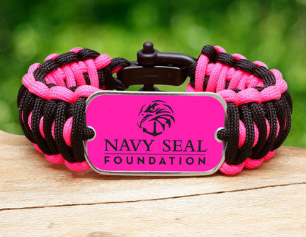 Wide Survival Bracelet™- Navy SEAL Foundation - Black and Pink