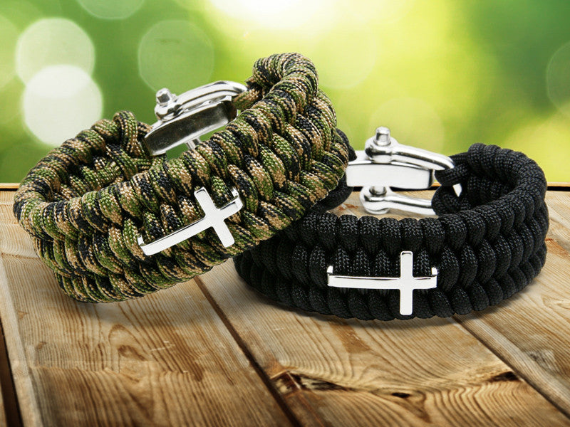 Wide Fish Tail Bracelet - Cross