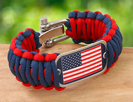 Wide Survival Bracelet - American Flag Tag