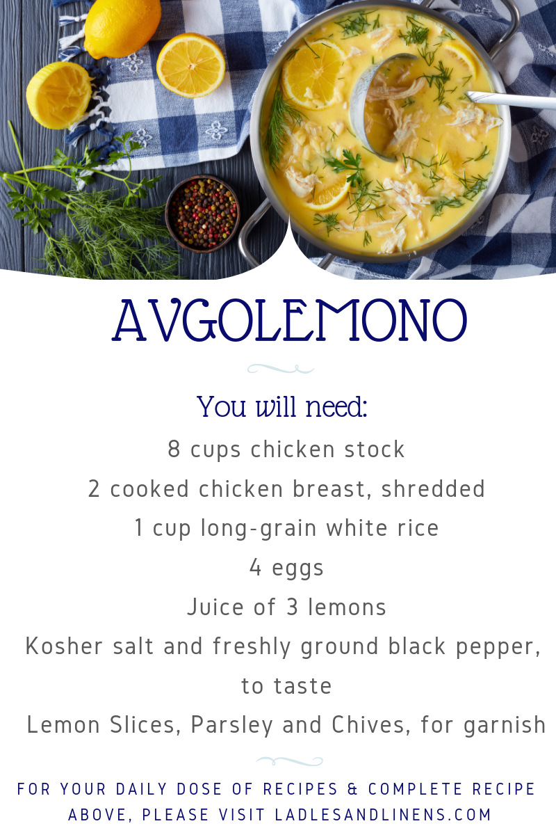 AVGOLEMONO (GREEK LEMON CHICKEN SOUP)