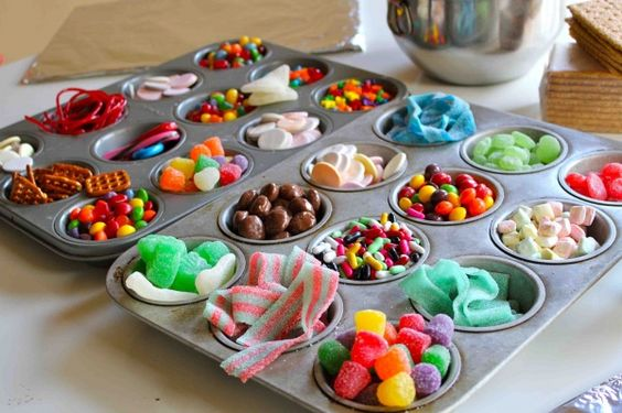 candy in muffin tins