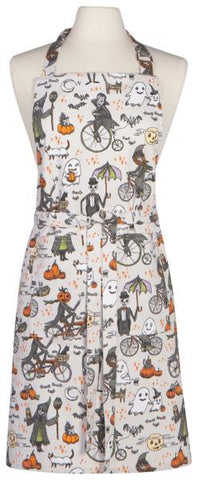 Halloween themed apron with pumkins and bats