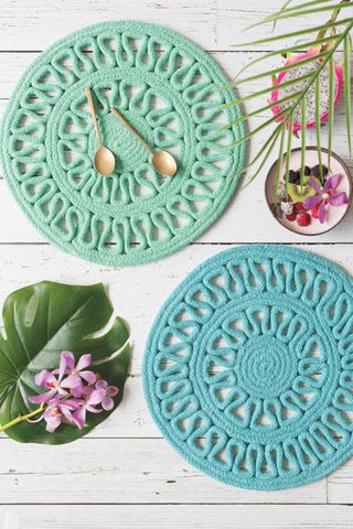 turquoise woven placemats