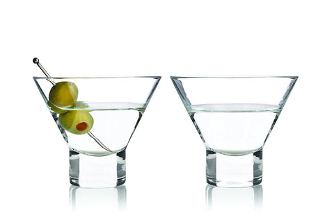 Stemless Martini Glasses by Viski - (2 pack, 7.5 oz)