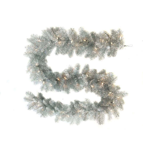 Kurt Adler 9-Foot Pre-Lit Silver Point Pine Garland