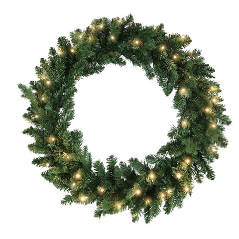 Kurt Adler 30-Inch Battery-Operated Warm White LED Jackson Wreath