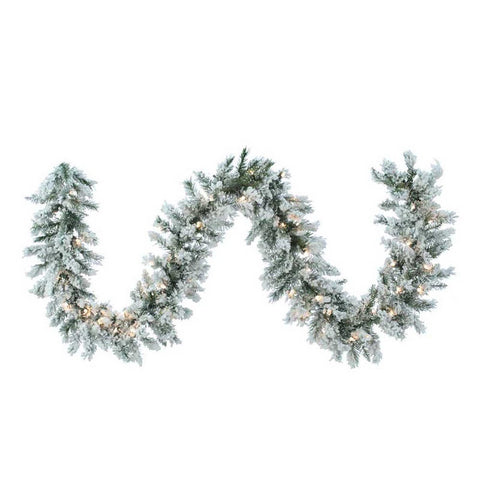 Kurt Adler 9-Foot Pre-Lit Flocked Norway Pine Garland