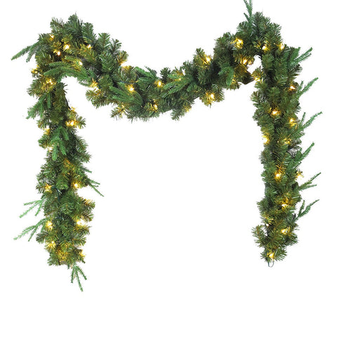 Kurt Adler 9-Foot Sierra Green Garland With 50 Warm White LED Lights