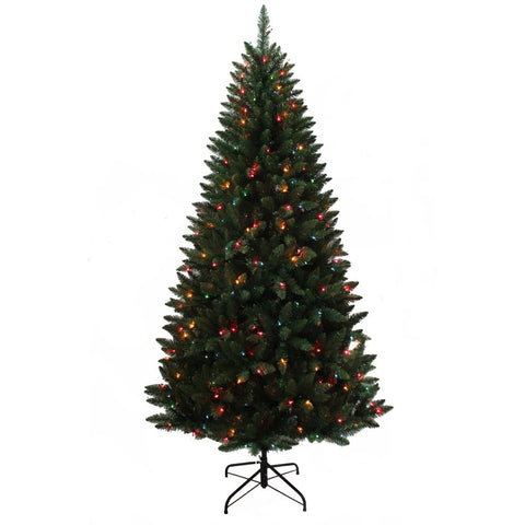 Kurt Adler 7-Foot Pre-Lit Pine Tree with Multi-Colored Lights