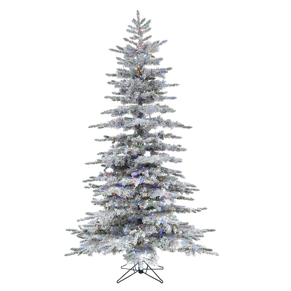 Kurt Adler 9-Foot Aurora LED Slim Flocked Multi Cluster Tree