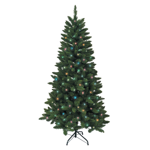 Kurt Adler 6-Foot Pre-Lit Green Pine Tree with Multicolored Lights