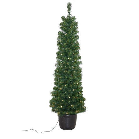 Kurt Adler 5-Foot Pre-Lit Potted Tree with 100-Light Warm White LED Bulbs