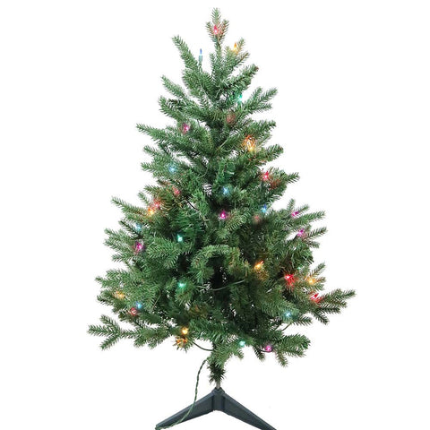 Kurt Adler 3-Foot Pre-Lit Multi-Color Incandescent Jackson Pine Tree