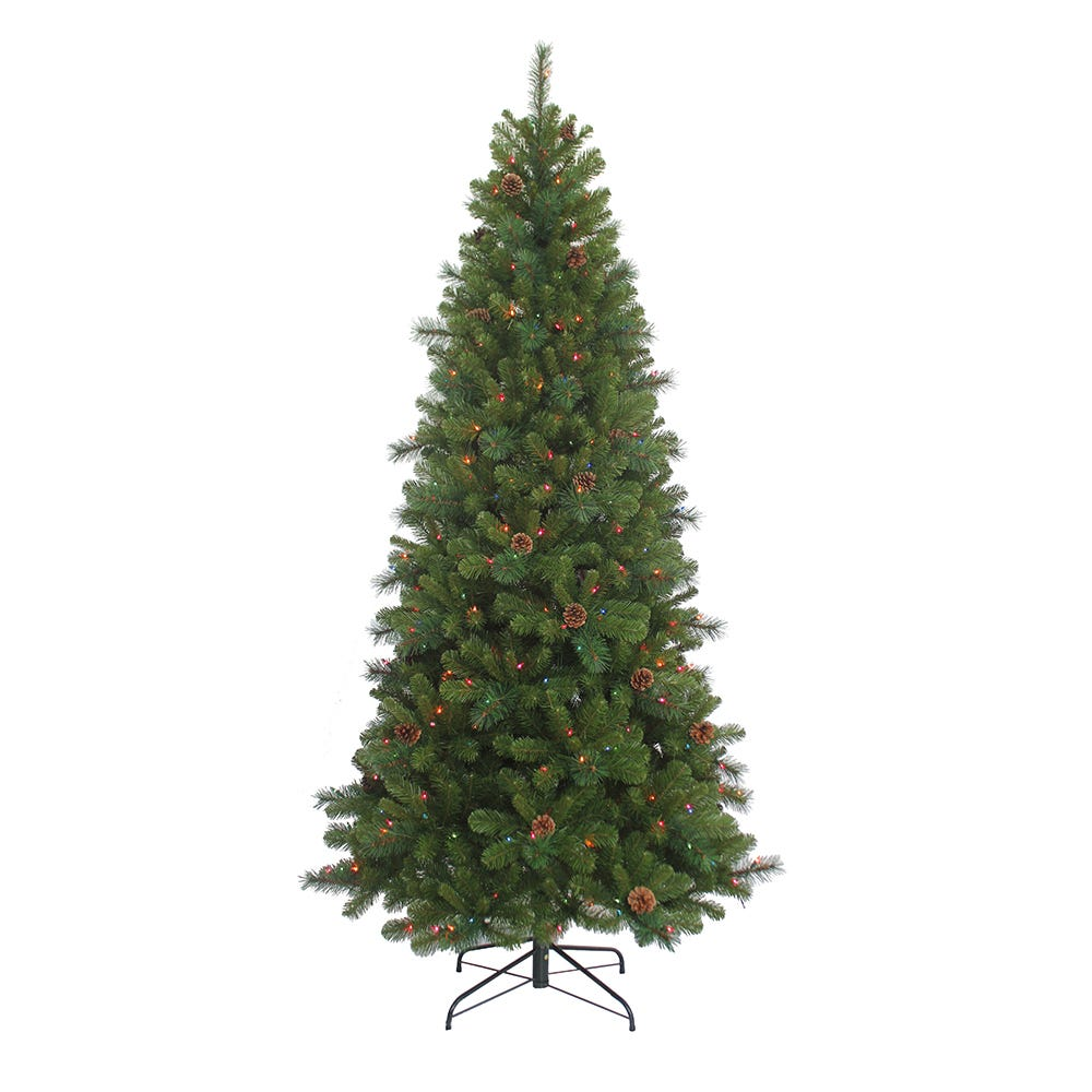Kurt Adler 7.5-Foot Slim Pre-Lit Multi-Color Burlington Tree