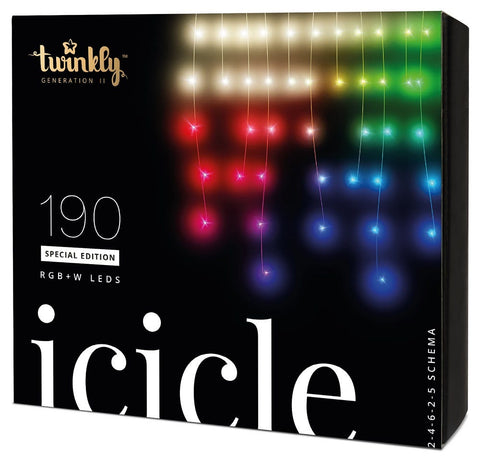 Kurt Adler Twinkly™ 190-Light RGBW LED Icicle Light Set