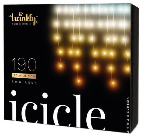 Kurt Adler Twinkly™ 190-Light AWW LED Icicle Light Set
