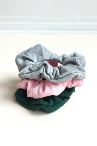 women's yoga scrunchie grey, pink and green