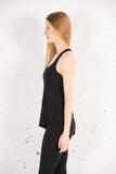 Women's Tonic Black Bamboo Asymmetrical Tank