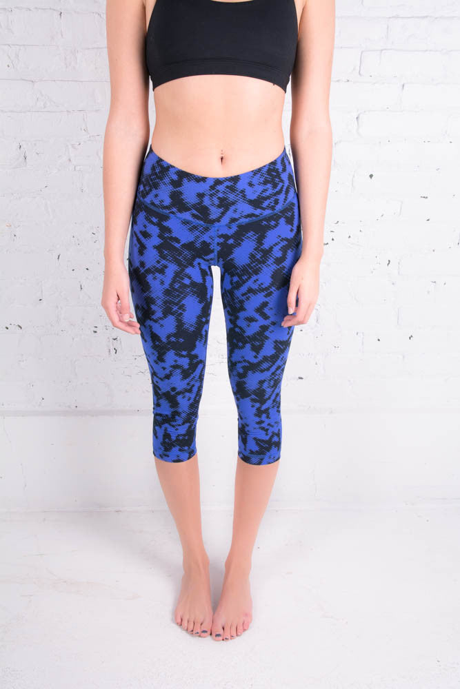 Women's Zobha blue crop yoga leggings