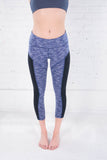 Women's space dye blue crop leggings