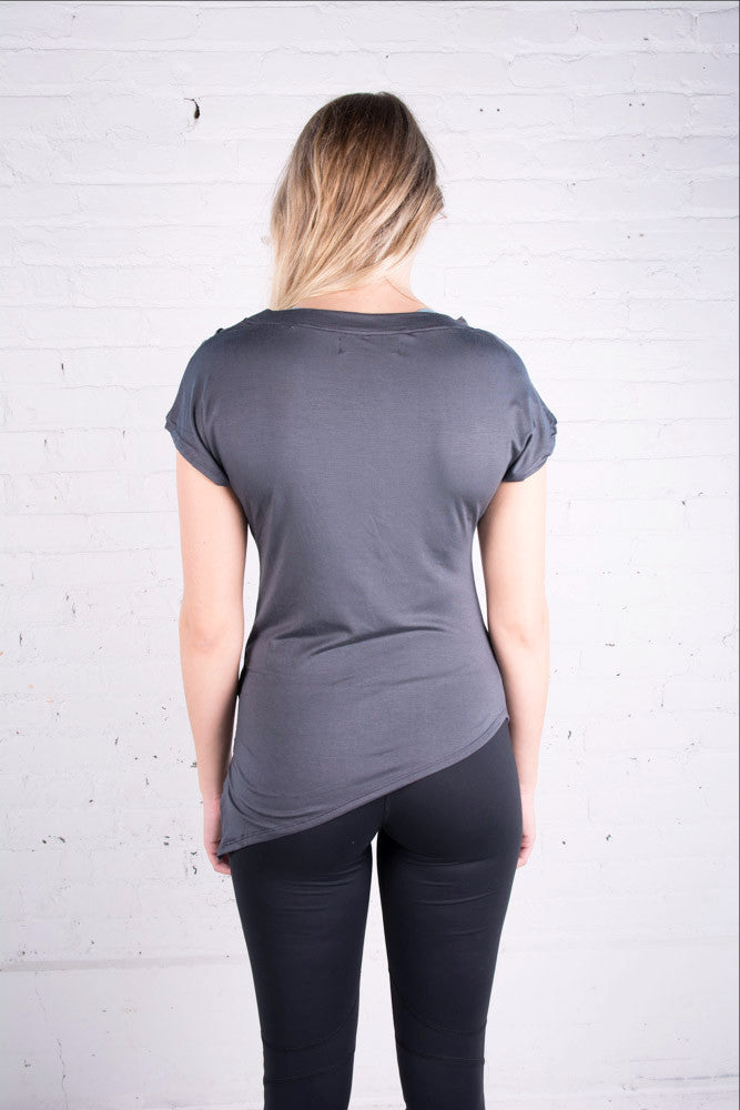 Women's Zobha grey tee shirt with ruching