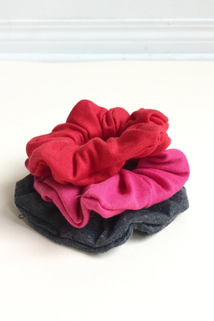 women's yoga scrunchie red, grey and pink