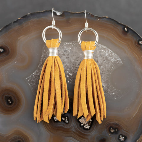 Suede Tassel Earrings - Gold