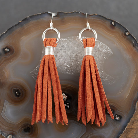 Leather Tear Drop Earrings - Lavender - w