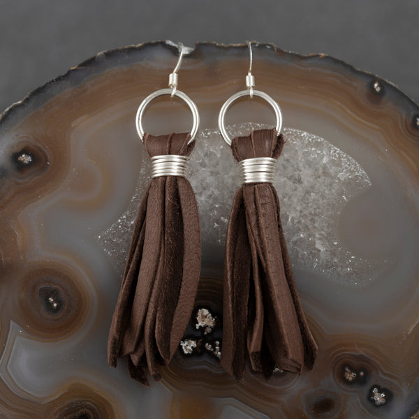 Deer Tassel Earrings - Brown - w