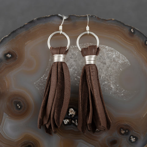 Leather Drop Earrings - Black & Tan - w