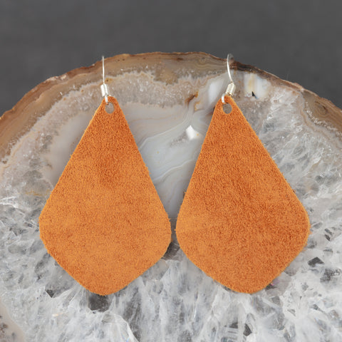 Leather Tear Drop Earrings - Orange - w