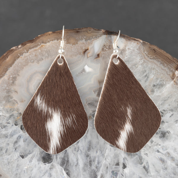 Leather Tear Drop Earrings - Brown & White - w