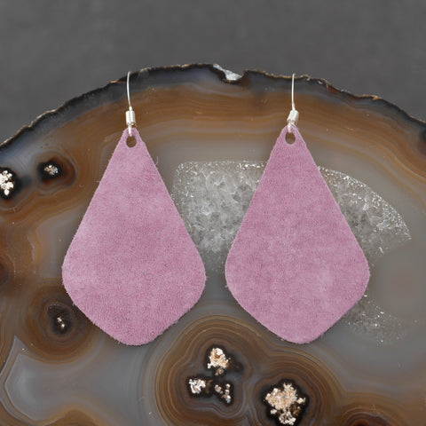 Leather Tear Drop Earrings - Lavender