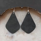 Leather Tear Drop Earrings - Charcoal, Steel Magnolia Jewelry