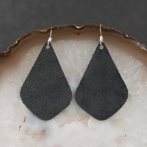 Leather Tear Drop Earrings - Charcoal - w