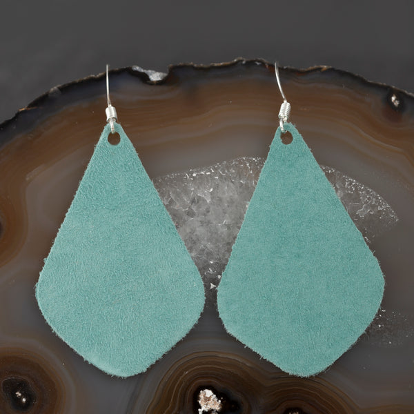Leather Tear Drop Earrings - Turquoise - w