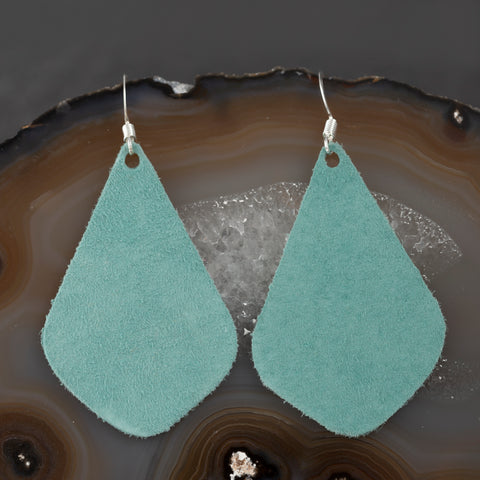 Leather Tear Drop Earrings - Turquoise