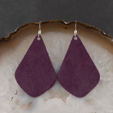 Leather Tear Drop Earrings - Purple, Steel Magnolia Jewelry