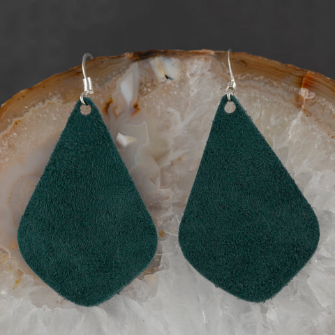 Leather Tear Drop Earrings - Green - w